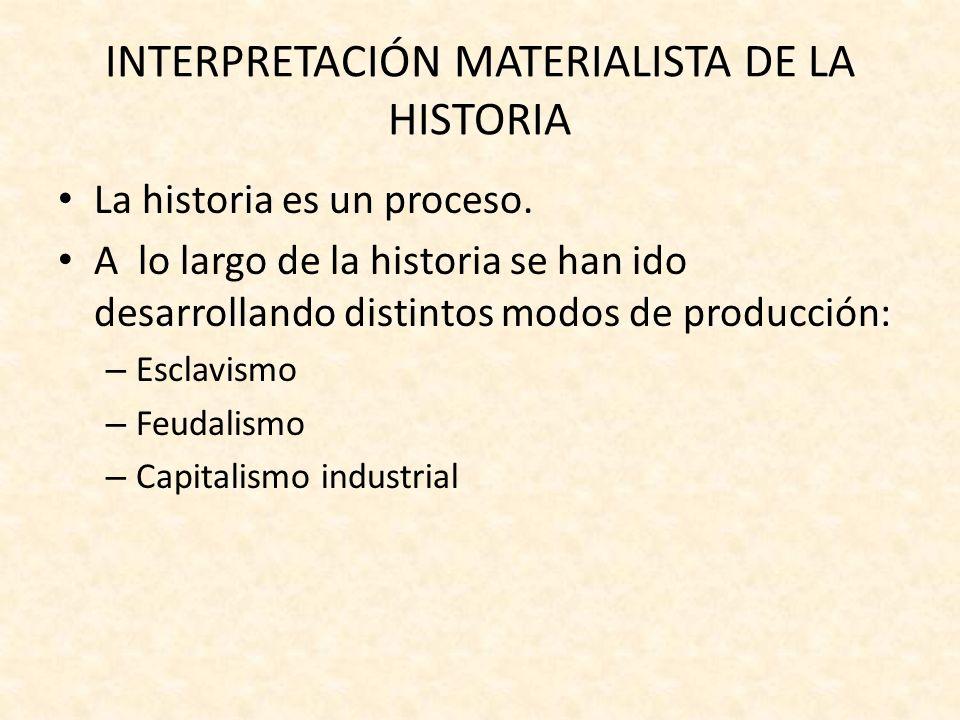 INTERPRETACIÓN MATERIALISTA DE LA HISTORIA El motor del proceso histórico es la oposición dialéctica de clases sociales, es decir: LA LUCHA DE CLASES