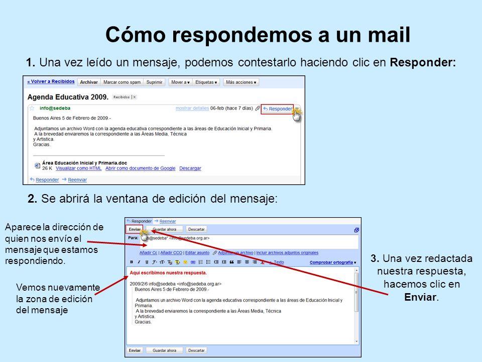 Cómo respondemos a un mail 1. Una vez leído un mensaje, podemos contestarlo haciendo clic en Responder: 2. Se abrirá la ventana de edición del mensaje