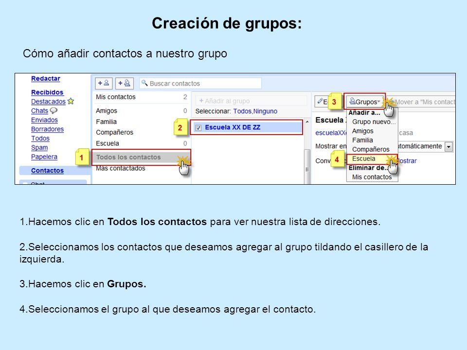 Creación de grupos: 1.Hacemos clic en Todos los contactos para ver nuestra lista de direcciones. 2.Seleccionamos los contactos que deseamos agregar al