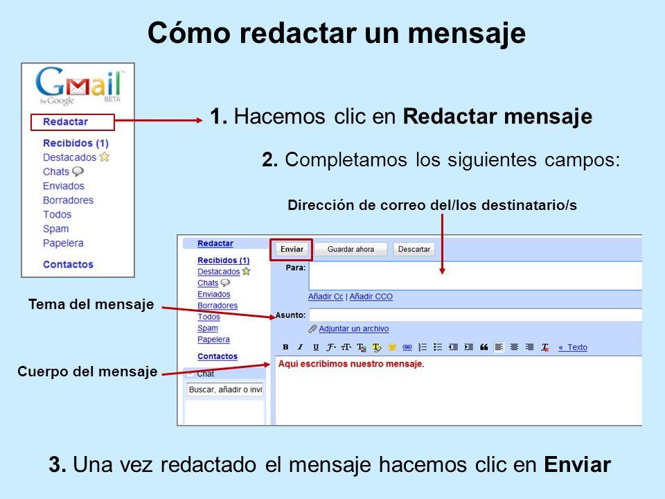 2. Completamos los siguientes campos: Dirección de correo del/los destinatario/s Tema del mensaje Cuerpo del mensaje Cómo redactar un mensaje 3. Una v