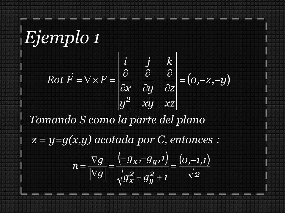 Ejemplo 1 Tomando S como la parte del plano z = y=g(x,y) acotada por C, entonces :