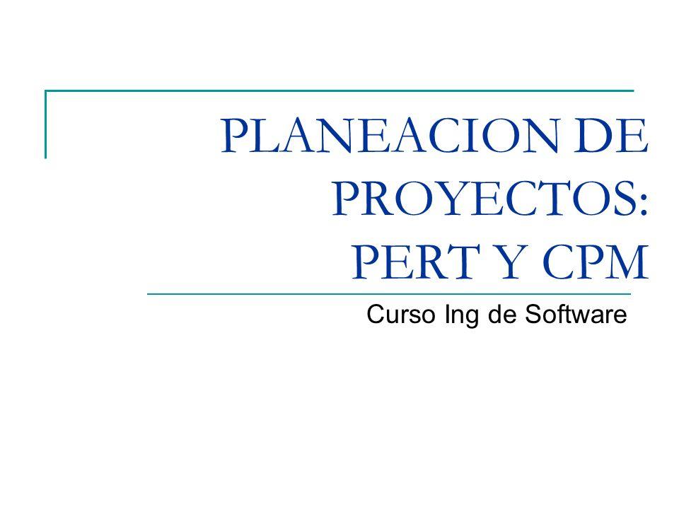 PLANEACION DE PROYECTOS: PERT Y CPM Curso Ing de Software