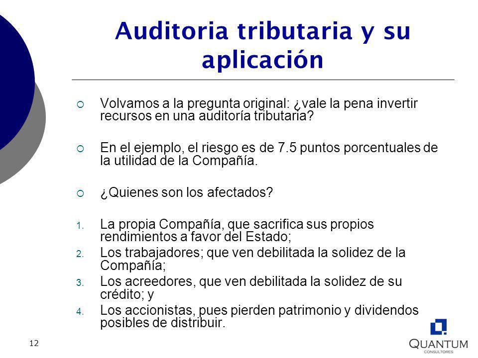 12 Auditoria tributaria y su aplicación Volvamos a la pregunta original: ¿vale la pena invertir recursos en una auditoría tributaria? En el ejemplo, e