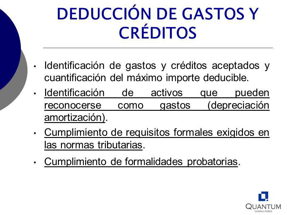 DEDUCCIÓN DE GASTOS Y CRÉDITOS Identificación de gastos y créditos aceptados y cuantificación del máximo importe deducible. Identificación de activos
