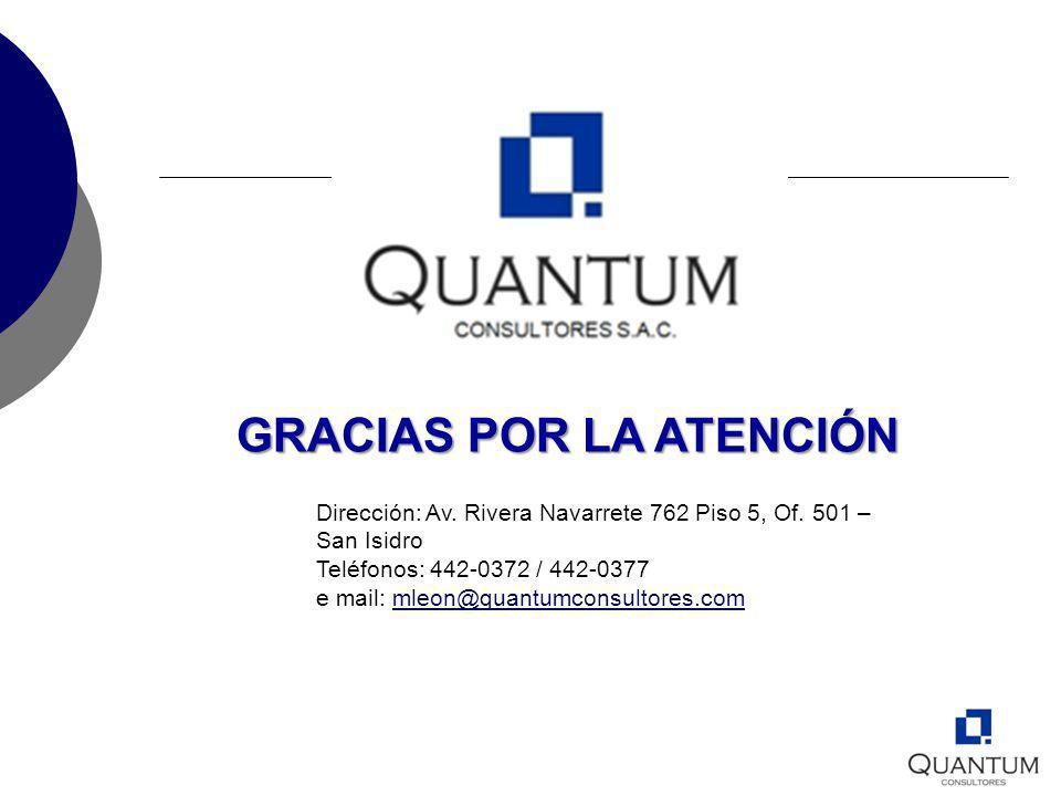 GRACIAS POR LA ATENCIÓN Dirección: Av. Rivera Navarrete 762 Piso 5, Of. 501 – San Isidro Teléfonos: 442-0372 / 442-0377 e mail: mleon@quantumconsultor
