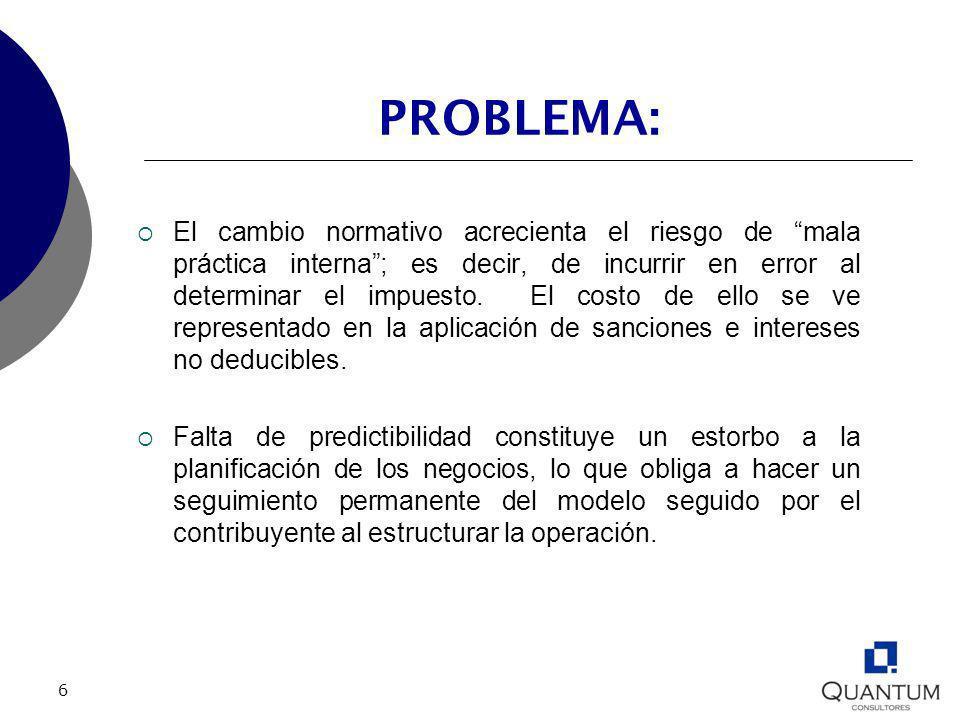 6 PROBLEMA: El cambio normativo acrecienta el riesgo de mala práctica interna; es decir, de incurrir en error al determinar el impuesto. El costo de e