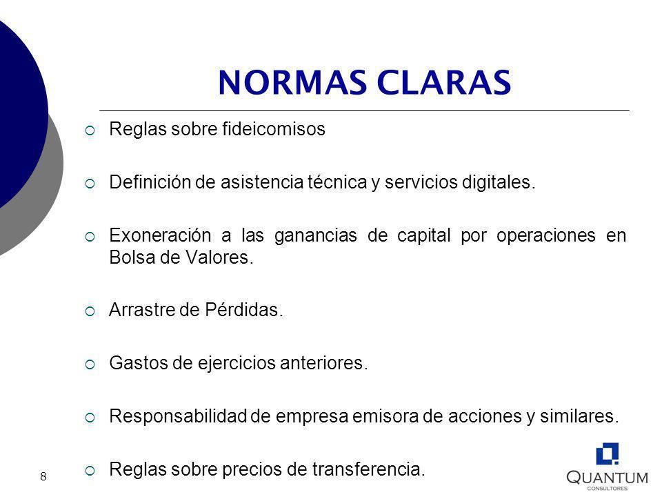 8 NORMAS CLARAS Reglas sobre fideicomisos Definición de asistencia técnica y servicios digitales. Exoneración a las ganancias de capital por operacion