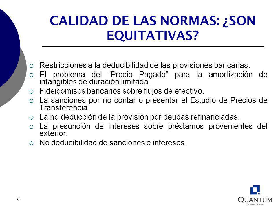 9 CALIDAD DE LAS NORMAS: ¿SON EQUITATIVAS? Restricciones a la deducibilidad de las provisiones bancarias. El problema del Precio Pagado para la amorti