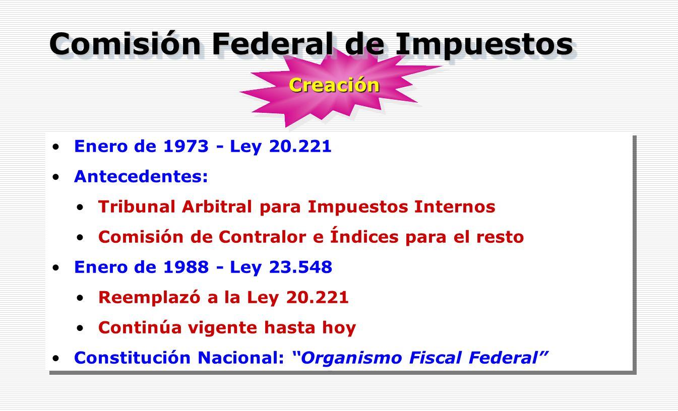 Enero de 1973 - Ley 20.221 Antecedentes: Tribunal Arbitral para Impuestos Internos Comisión de Contralor e Índices para el resto Enero de 1988 - Ley 2