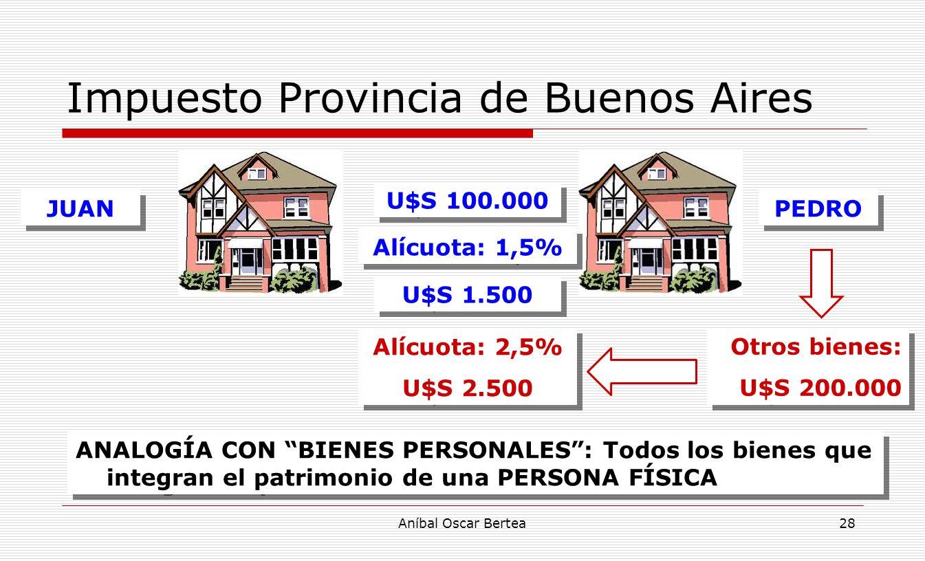Impuesto Provincia de Buenos Aires Aníbal Oscar Bertea28 JUAN PEDRO U$S 100.000 Alícuota: 1,5% U$S 1.500 Alícuota: 2,5% U$S 2.500 Alícuota: 2,5% U$S 2