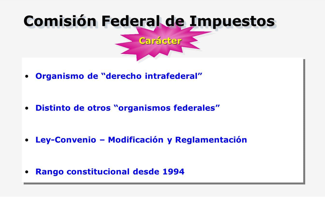 Organismo de derecho intrafederal Distinto de otros organismos federales Ley-Convenio – Modificación y Reglamentación Rango constitucional desde 1994