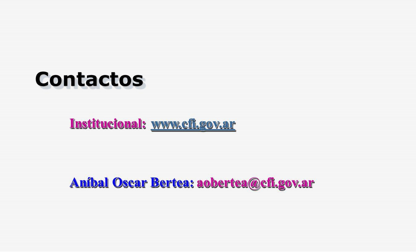 Contactos Contactos Institucional: www.cfi.gov.ar www.cfi.gov.ar Aníbal Oscar Bertea: aobertea@cfi.gov.ar Institucional: w w w w w wwww wwww.... cccc