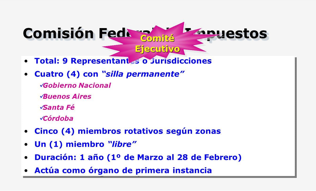 Comisión Federal de Impuestos Total: 9 Representantes o Jurisdicciones Cuatro (4) con silla permanente Gobierno Nacional Buenos Aires Santa Fé Córdoba