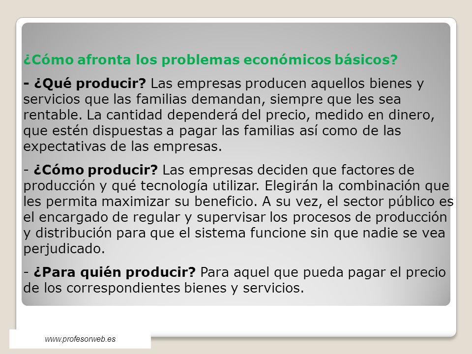 ¿Cómo afronta los problemas económicos básicos? - ¿Qué producir? Las empresas producen aquellos bienes y servicios que las familias demandan, siempre