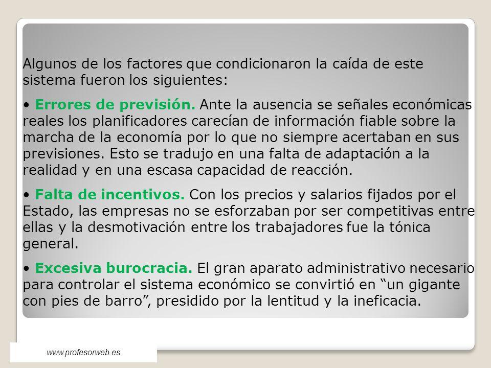 www.profesorweb.es Algunos de los factores que condicionaron la caída de este sistema fueron los siguientes: Errores de previsión. Ante la ausencia se
