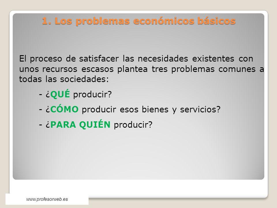 1. Los problemas económicos básicos El proceso de satisfacer las necesidades existentes con unos recursos escasos plantea tres problemas comunes a tod