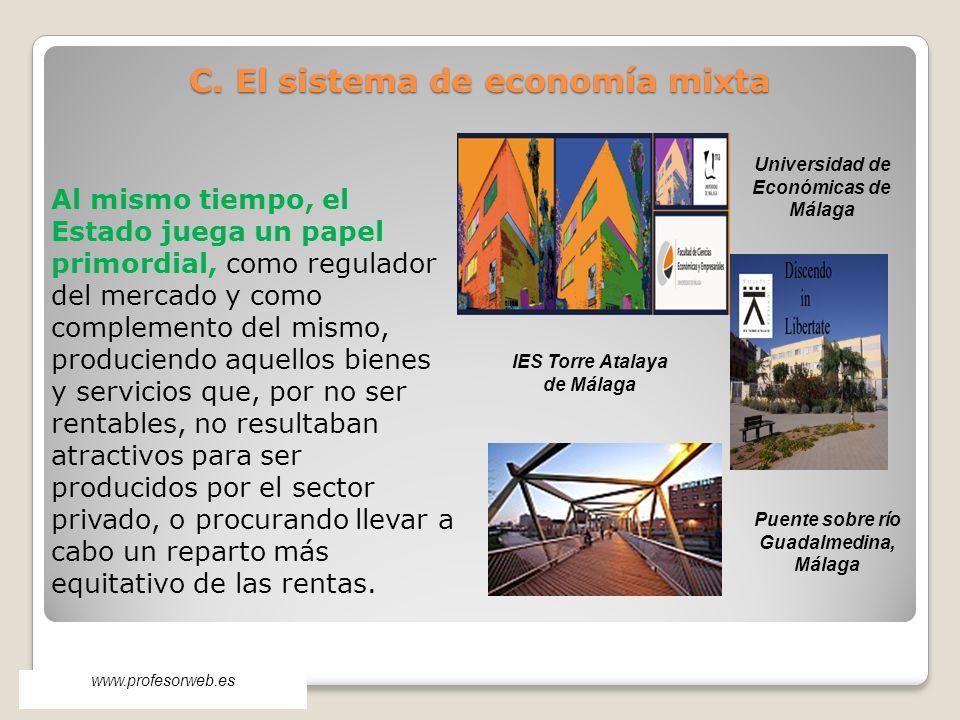 www.profesorweb.es Al mismo tiempo, el Estado juega un papel primordial, como regulador del mercado y como complemento del mismo, produciendo aquellos