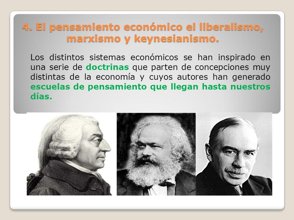 4. El pensamiento económico el liberalismo, marxismo y keynesianismo. Los distintos sistemas económicos se han inspirado en una serie de doctrinas que