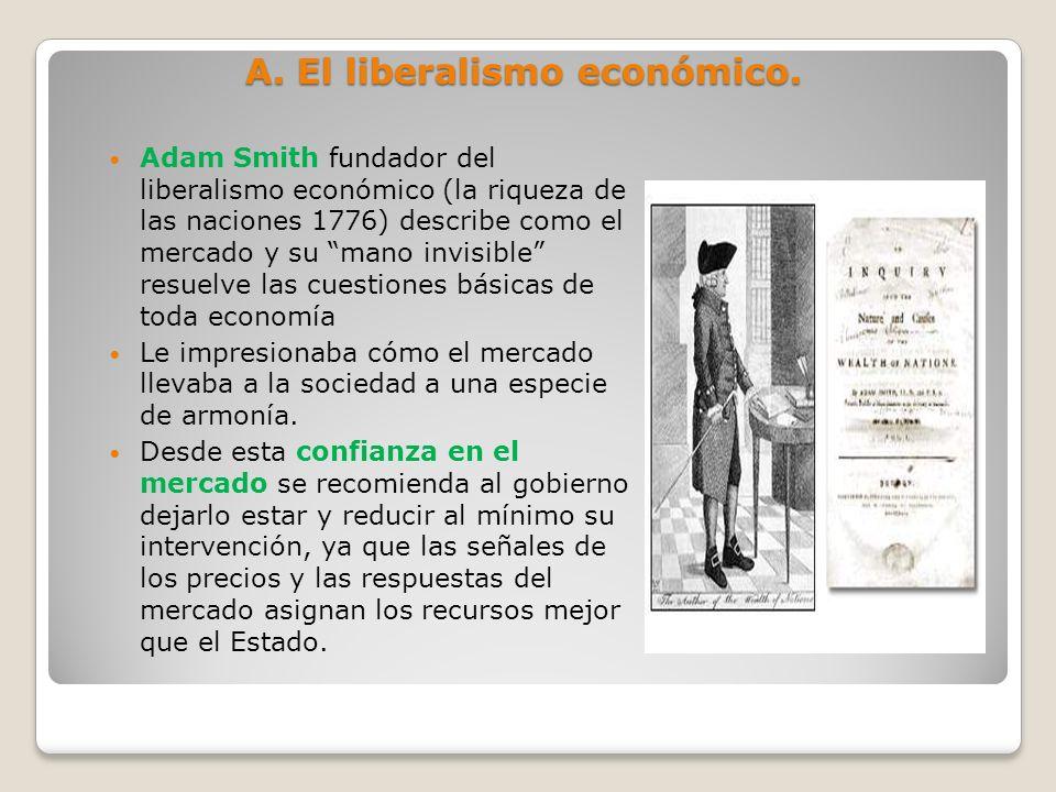 A. El liberalismo económico. Adam Smith fundador del liberalismo económico (la riqueza de las naciones 1776) describe como el mercado y su mano invisi