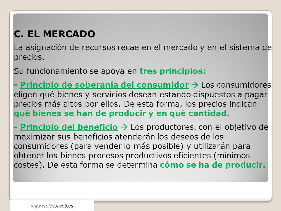 C. EL MERCADO La asignación de recursos recae en el mercado y en el sistema de precios. Su funcionamiento se apoya en tres principios: - Principio de