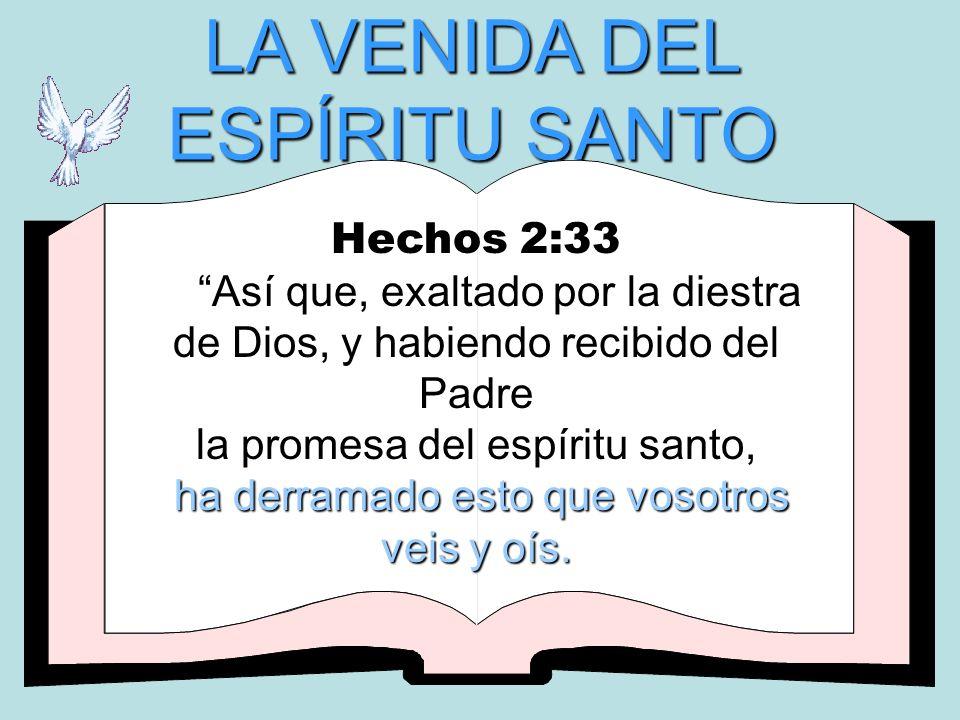 LA VENIDA DEL ESPÍRITU SANTO Hechos 2:33 Así que, exaltado por la diestra de Dios, y habiendo recibido del Padre la promesa del espíritu santo, h hh h