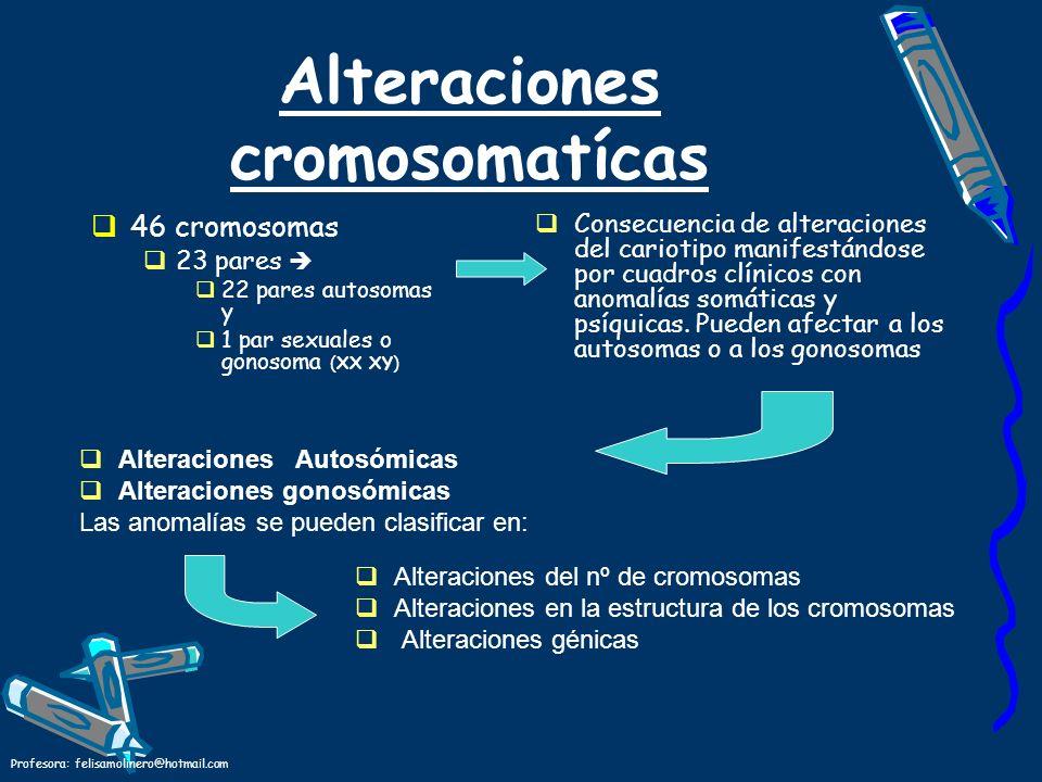 Profesora: felisamolinero@hotmail.com Alteraciones cromosomatícas 46 cromosomas 23 pares 22 pares autosomas y 1 par sexuales o gonosoma (XX XY) Consec