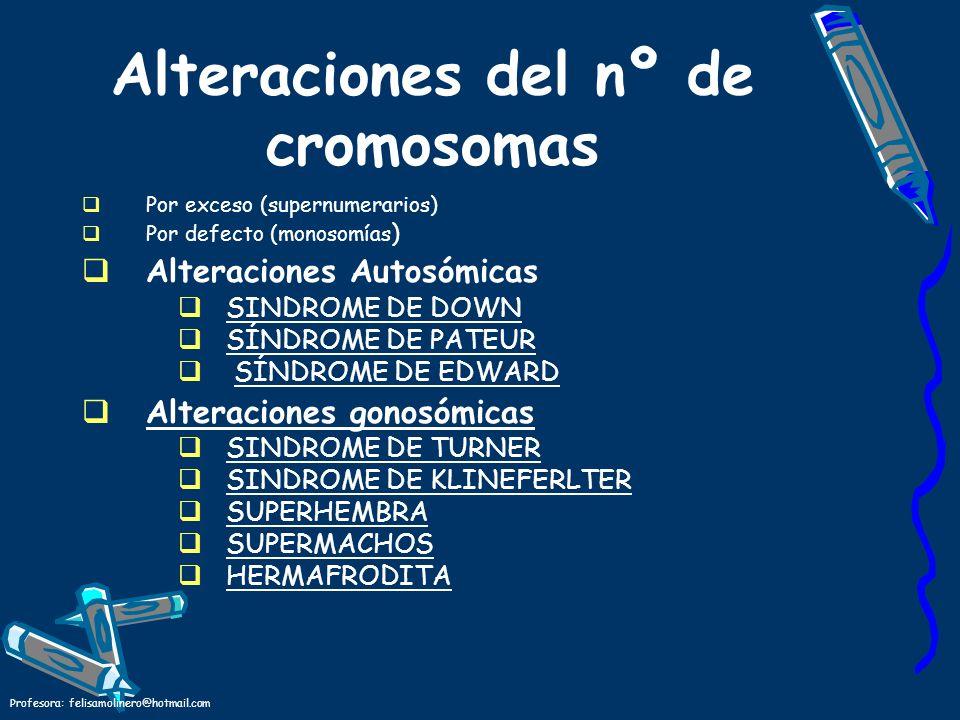 Profesora: felisamolinero@hotmail.com Alteraciones del nº de cromosomas Por exceso (supernumerarios) Por defecto (monosomías ) Alteraciones Autosómica