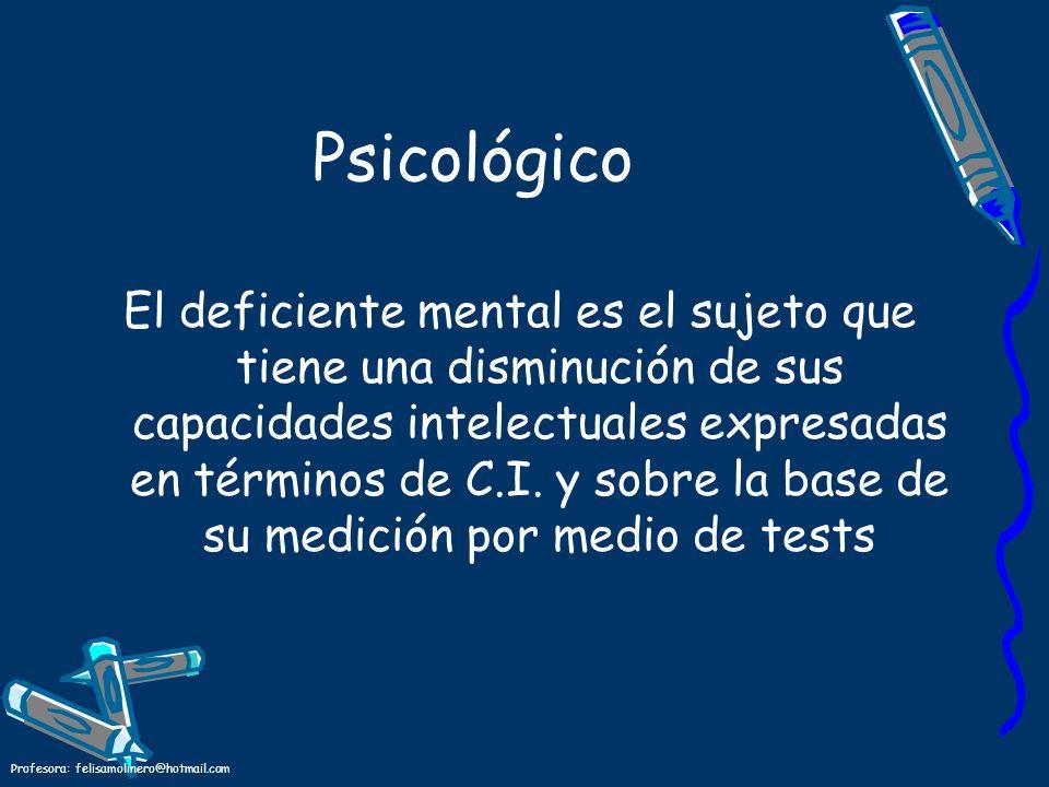 Profesora: felisamolinero@hotmail.com Psicológico El deficiente mental es el sujeto que tiene una disminución de sus capacidades intelectuales expresa