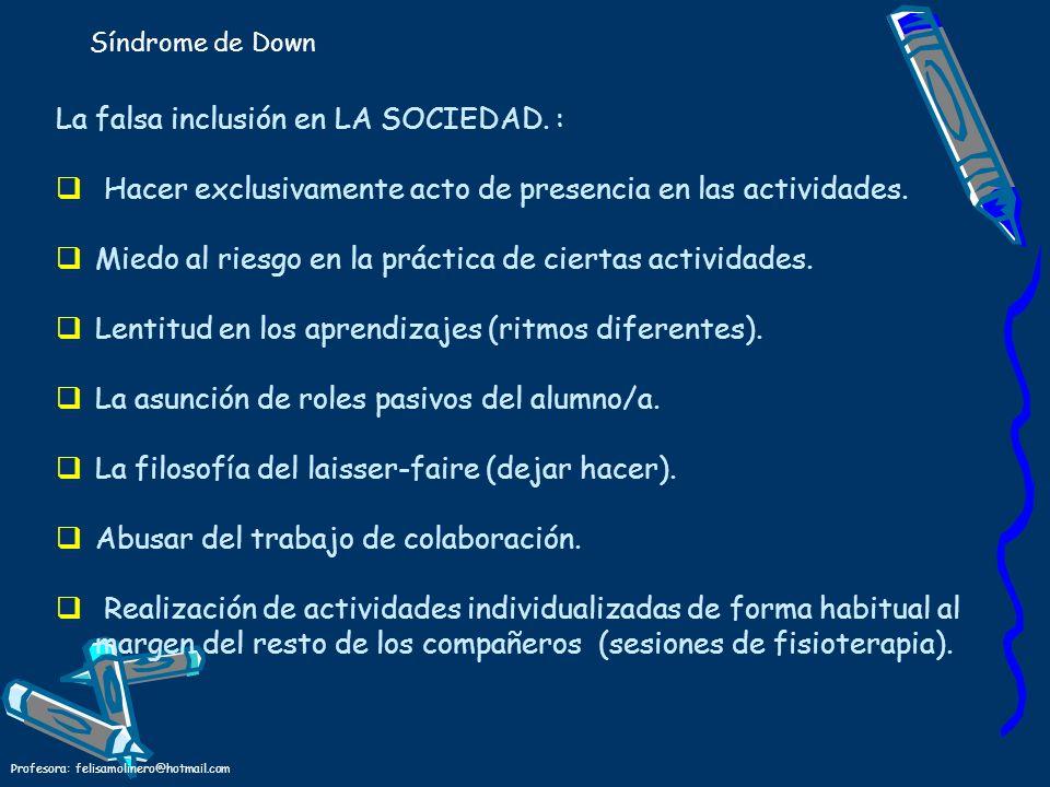 Profesora: felisamolinero@hotmail.com La falsa inclusión en LA SOCIEDAD. : Hacer exclusivamente acto de presencia en las actividades. Miedo al riesgo