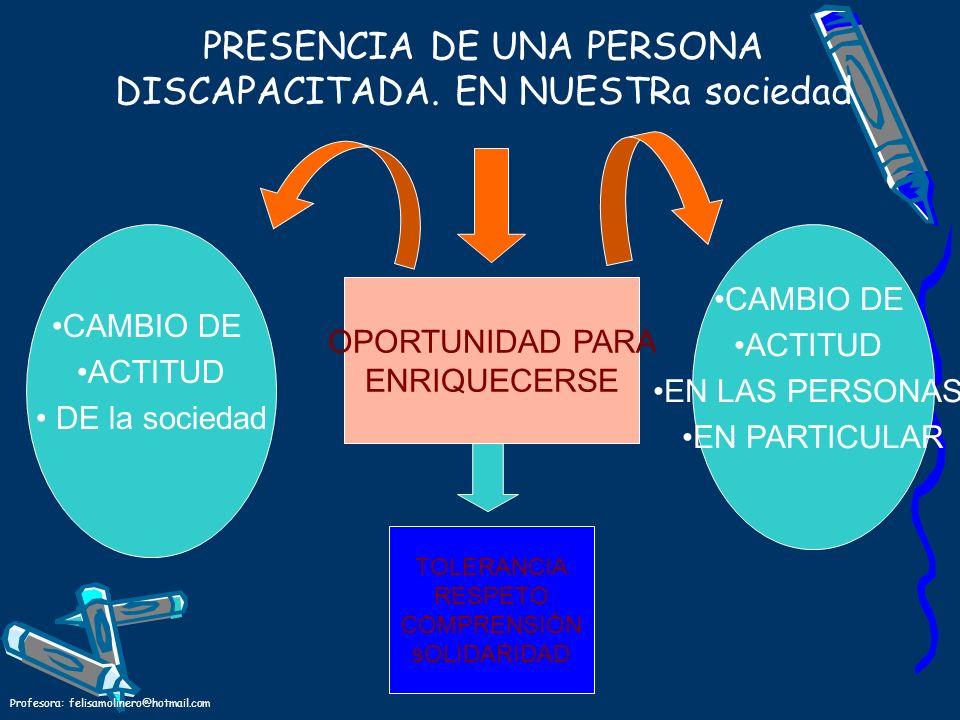 Profesora: felisamolinero@hotmail.com PRESENCIA DE UNA PERSONA DISCAPACITADA. EN NUESTRa sociedad CAMBIO DE ACTITUD DE la sociedad CAMBIO DE ACTITUD E