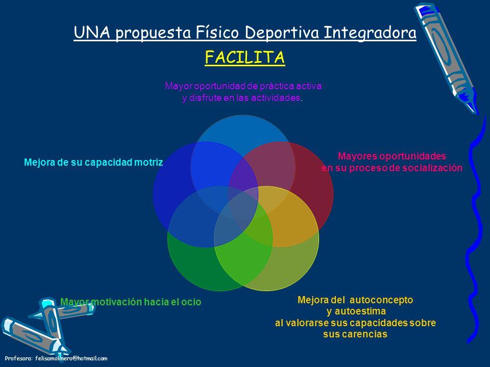 Profesora: felisamolinero@hotmail.com UNA propuesta Físico Deportiva Integradora FACILITA Mayor oportunidad de práctica activa y disfrute en las activ