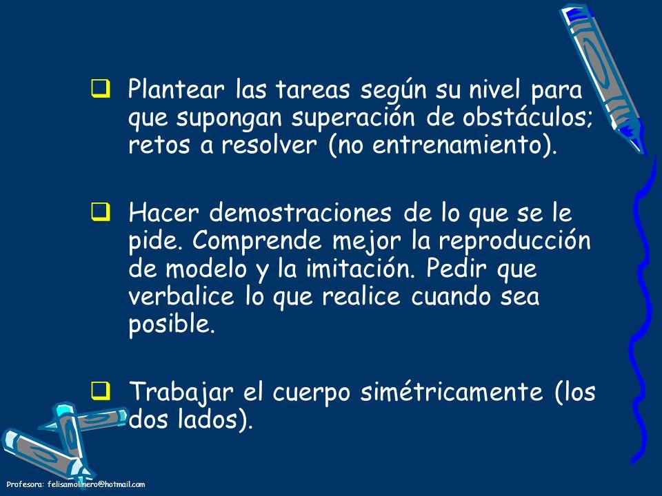 Profesora: felisamolinero@hotmail.com Plantear las tareas según su nivel para que supongan superación de obstáculos; retos a resolver (no entrenamient