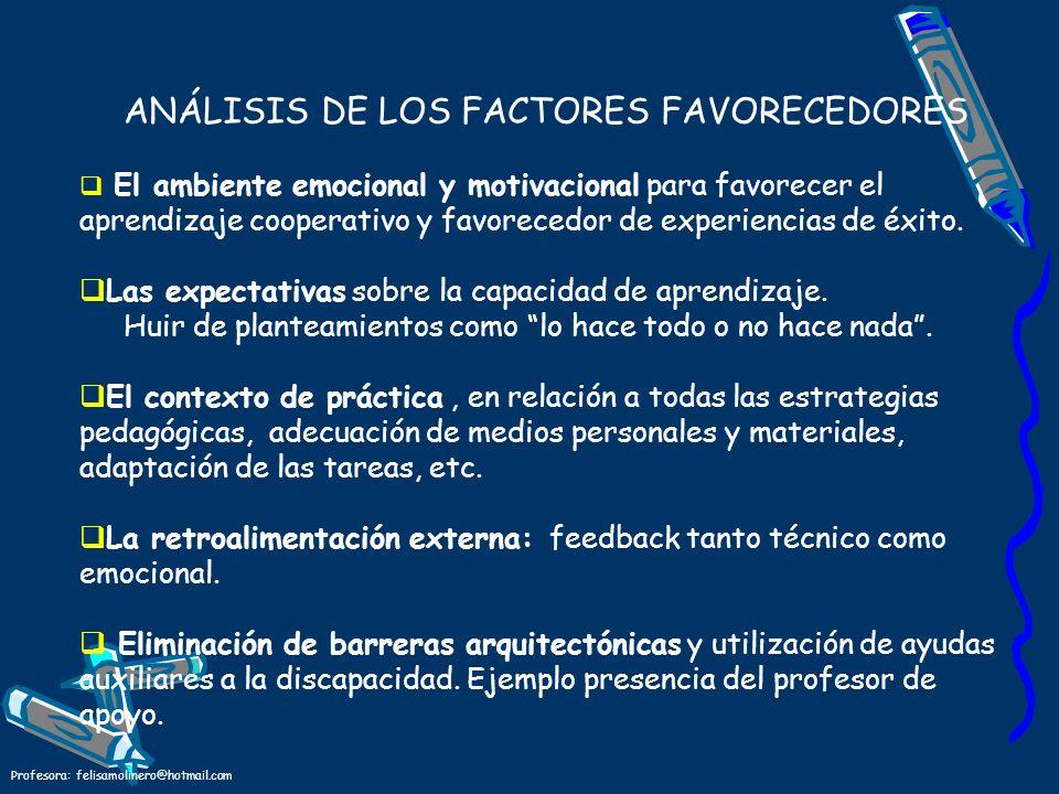 Profesora: felisamolinero@hotmail.com ANÁLISIS DE LOS FACTORES FAVORECEDORES El ambiente emocional y motivacional para favorecer el aprendizaje cooper
