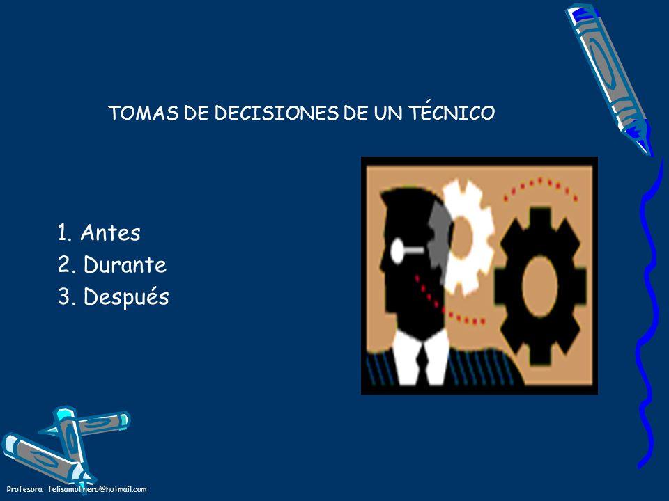 Profesora: felisamolinero@hotmail.com TOMAS DE DECISIONES DE UN TÉCNICO 1. Antes 2. Durante 3. Después