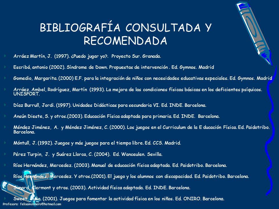 Profesora: felisamolinero@hotmail.com BIBLIOGRAFÍA CONSULTADA Y RECOMENDADA Arráez Martín, J. (1997). ¿Puedo jugar yo?. Proyecto Sur. Granada. Escribá