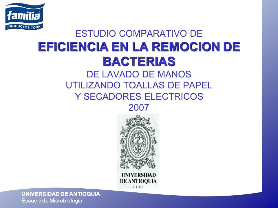 UNIVERSIDAD DE ANTIOQUIA Escuela de Microbiología EFICIENCIA EN LA REMOCION DE BACTERIAS ESTUDIO COMPARATIVO DE EFICIENCIA EN LA REMOCION DE BACTERIAS