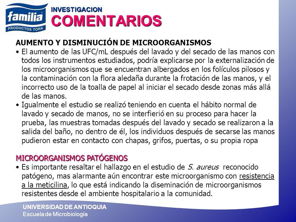 UNIVERSIDAD DE ANTIOQUIA Escuela de Microbiología INVESTIGACION COMENTARIOS AUMENTO Y DISMINUCIÓN DE MICROORGANISMOS El aumento de las UFC/mL después