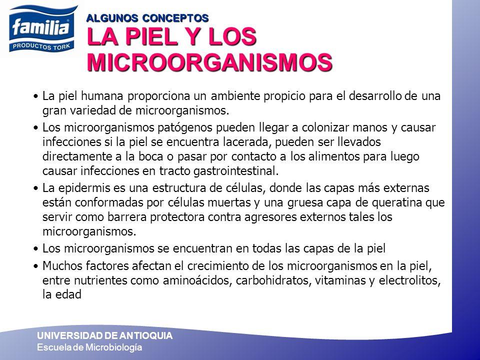 UNIVERSIDAD DE ANTIOQUIA Escuela de Microbiología ALGUNOS CONCEPTOS LA PIEL Y LOS MICROORGANISMOS La piel humana proporciona un ambiente propicio para