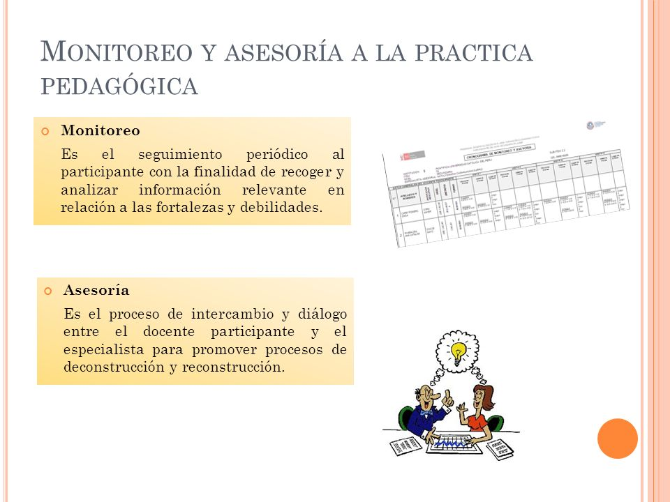 M ONITOREO Y ASESORÍA A LA PRACTICA PEDAGÓGICA Monitoreo Es el seguimiento periódico al participante con la finalidad de recoger y analizar informació