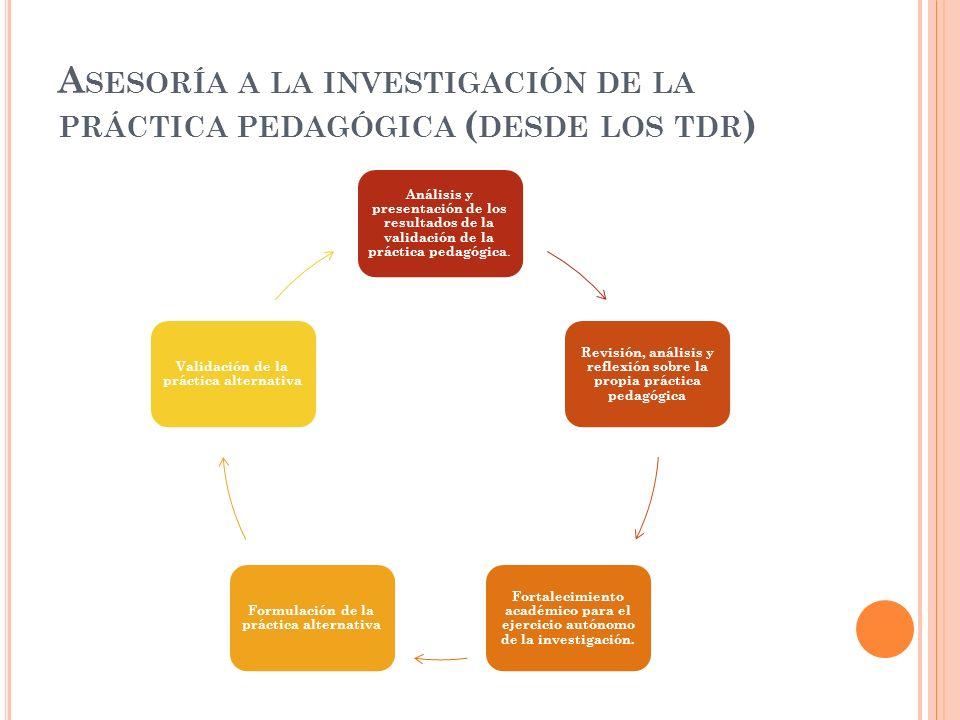 A SESORÍA A LA INVESTIGACIÓN DE LA PRÁCTICA PEDAGÓGICA ( DESDE LOS TDR ) Análisis y presentación de los resultados de la validación de la práctica ped