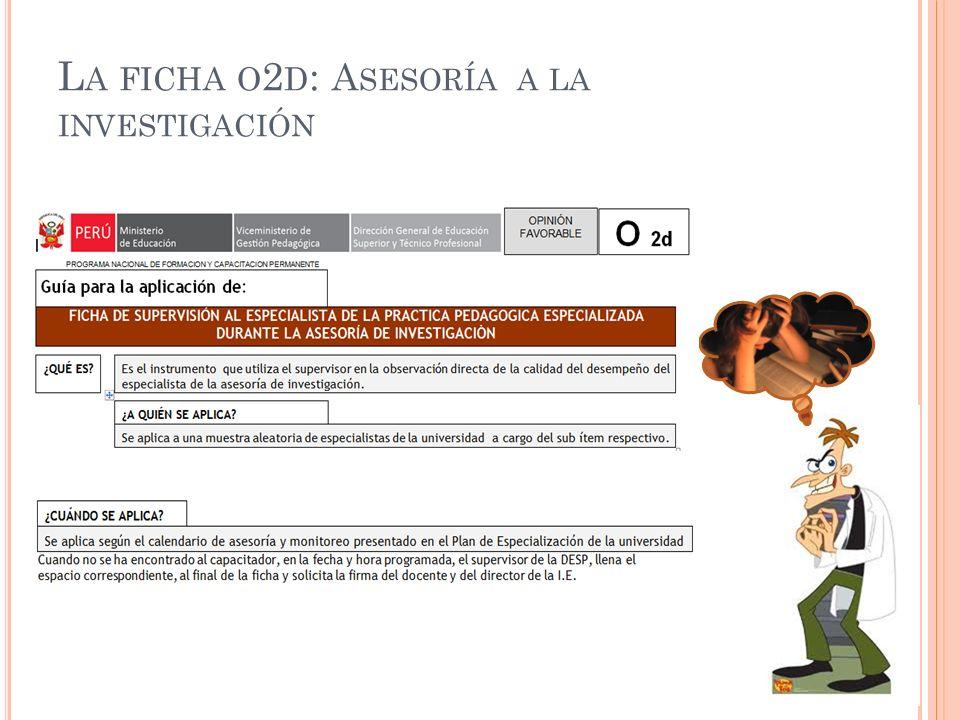 L A FICHA O 2 D : A SESORÍA A LA INVESTIGACIÓN