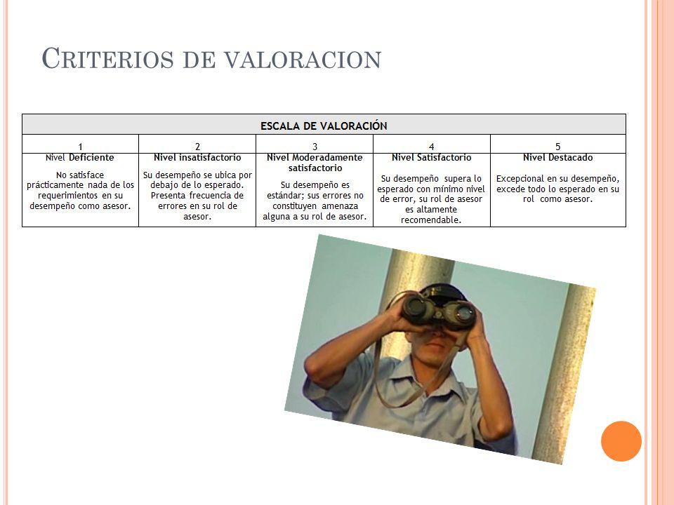 C RITERIOS DE VALORACION