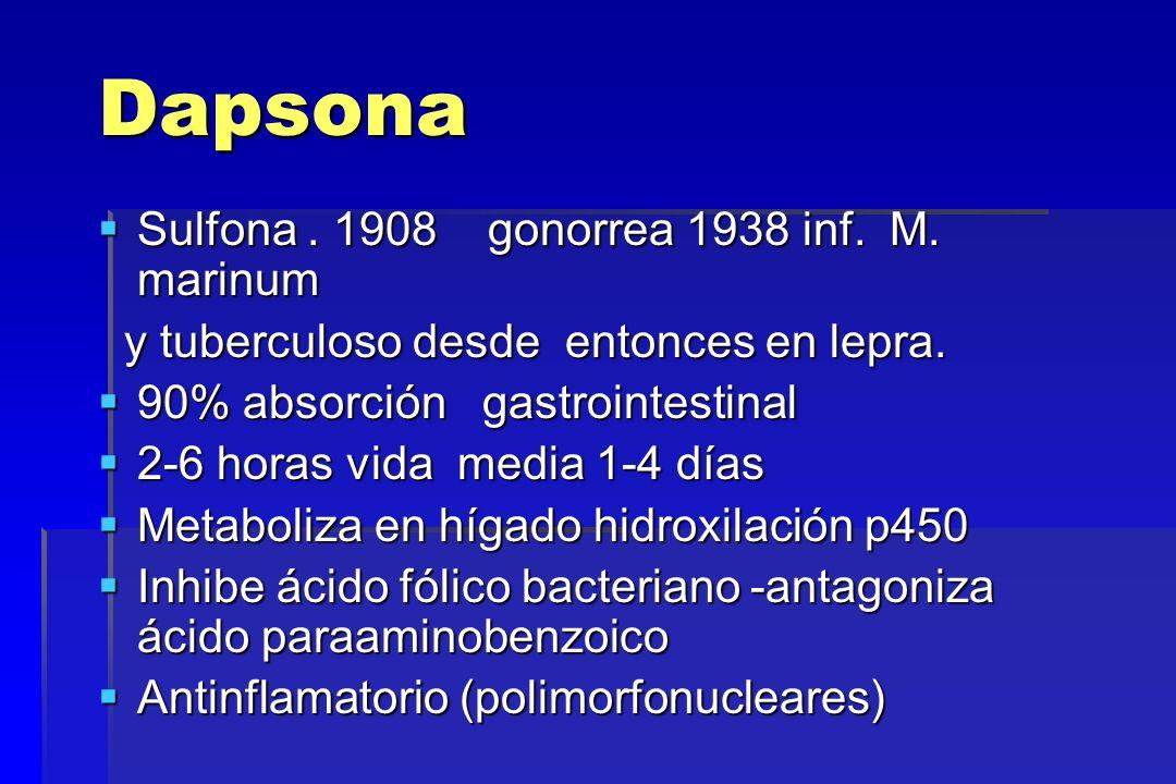 Dapsona Sulfona. 1908 gonorrea 1938 inf. M. marinum Sulfona. 1908 gonorrea 1938 inf. M. marinum y tuberculoso desde entonces en lepra. y tuberculoso d