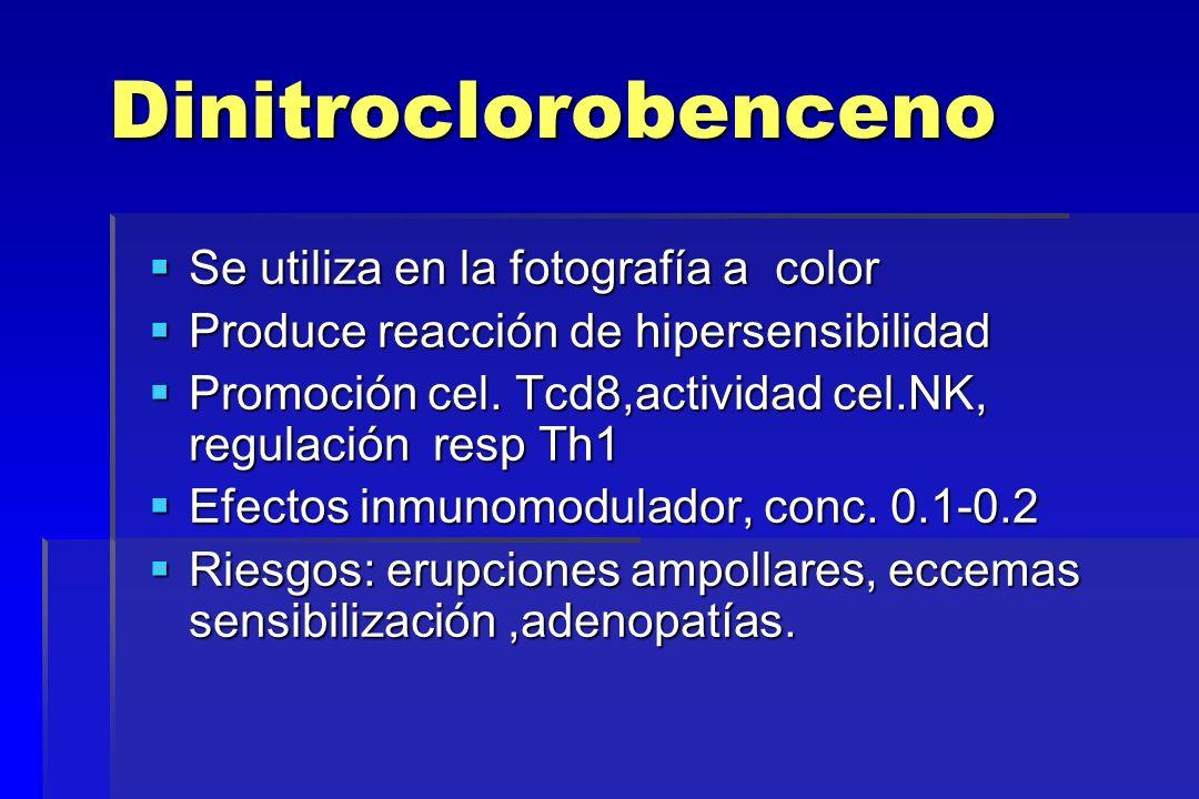 Dinitroclorobenceno Se utiliza en la fotografía a color Se utiliza en la fotografía a color Produce reacción de hipersensibilidad Produce reacción de