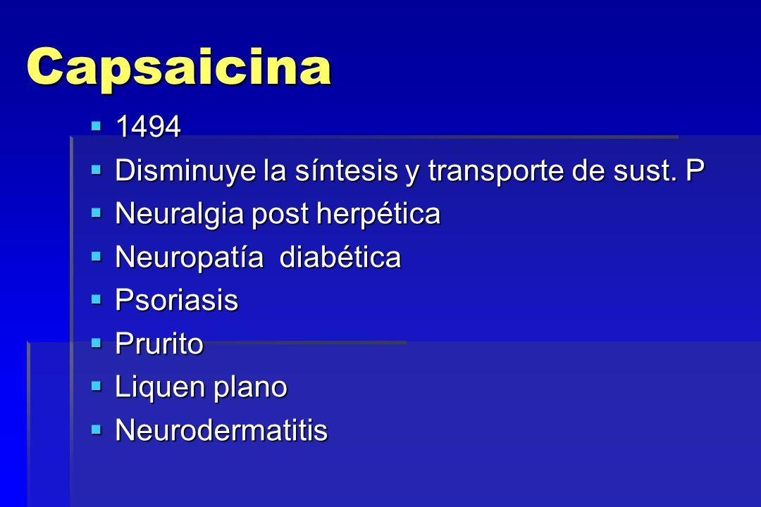 Capsaicina 1494 1494 Disminuye la síntesis y transporte de sust. P Disminuye la síntesis y transporte de sust. P Neuralgia post herpética Neuralgia po