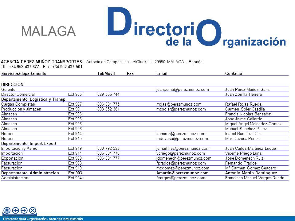 Directorio de la Organización - Área de Comunicación de la O rganización D irectori Directorio de la Organización - Área de Comunicación de la O rgani