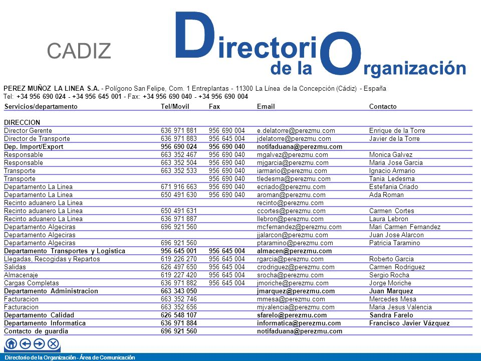 Directorio de la Organización - Área de Comunicación de la O rganización D irectori Directorio de la Organización - Área de Comunicación de la O rganización D irectori SERVIMAD HUELVA – Poligono Nuevo Puerto S/N – Ap.