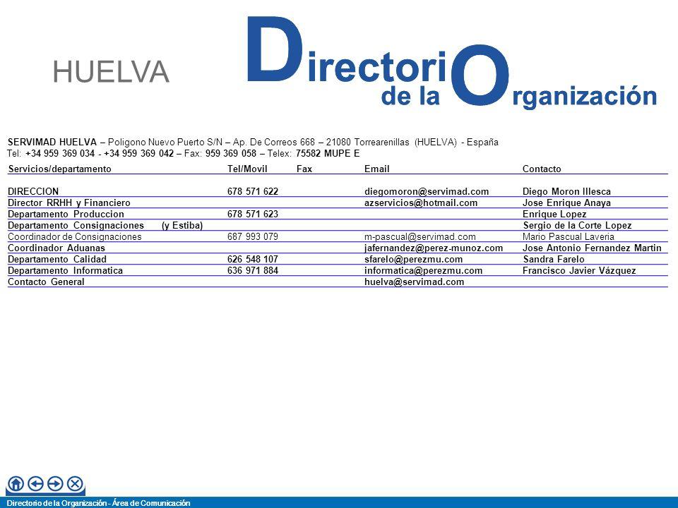 Directorio de la Organización - Área de Comunicación de la O rganización D irectori Directorio de la Organización - Área de Comunicación de la O rganización D irectori SERVIMAD VALENCIA – C/ J.J.