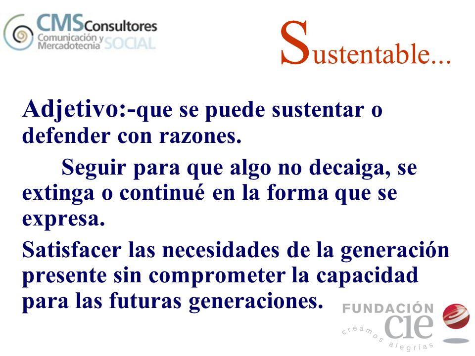 S ustentable... Adjetivo:- que se puede sustentar o defender con razones. Seguir para que algo no decaiga, se extinga o continué en la forma que se ex