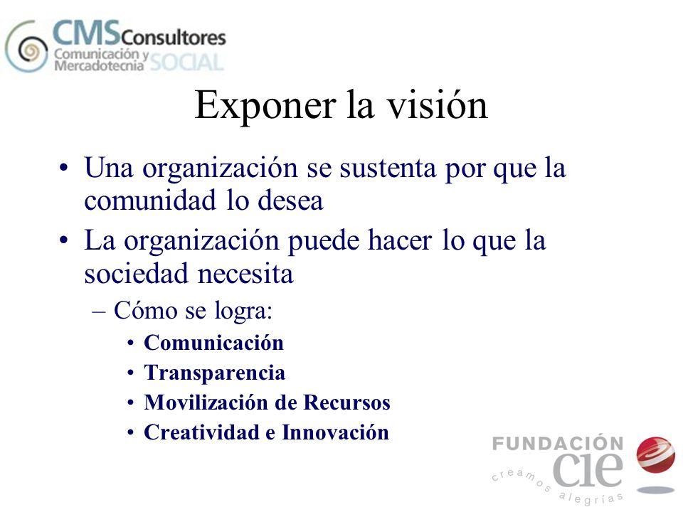Exponer la visión Una organización se sustenta por que la comunidad lo desea La organización puede hacer lo que la sociedad necesita –Cómo se logra: C